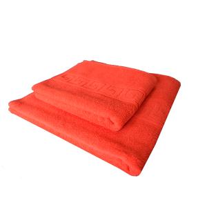Set prosoape de baie rosii Bianca cu model grecesc